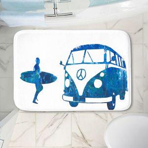 Decorative Bathroom Mats | Markus Bleichner - Surf Bus Blue 1 | vw volkswagon surfing surfboard