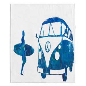 Decorative Fleece Throw Blankets | Markus Bleichner - Surf Bus Blue 1 | vw volkswagon surfing surfboard