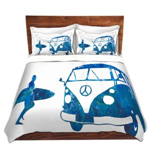 Artistic Duvet Covers and Shams Bedding   Markus Bleichner - Surf Bus Blue 1   vw volkswagon surfing surfboard