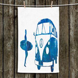 Unique Hanging Tea Towels | Markus Bleichner - Surf Bus Blue 1 | vw volkswagon surfing surfboard