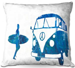 Decorative Outdoor Patio Pillow Cushion | Markus Bleichner - Surf Bus Blue 1 | vw volkswagon surfing surfboard