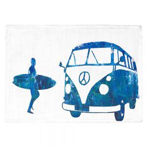 Countertop Place Mats | Markus Bleichner - Surf Bus Blue 1 | vw volkswagon surfing surfboard