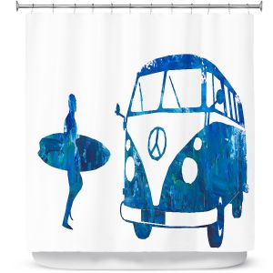 Premium Shower Curtains | Markus Bleichner - Surf Bus Blue 1 | vw volkswagon surfing surfboard