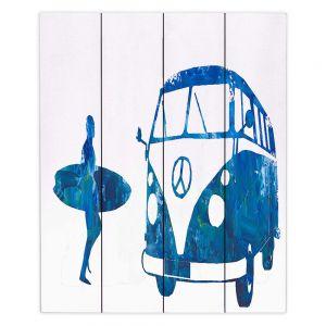 Decorative Wood Plank Wall Art   Markus Bleichner - Surf Bus Blue 1   vw volkswagon surfing surfboard