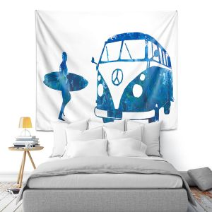 Artistic Wall Tapestry | Markus Bleichner - Surf Bus Blue 1 | vw volkswagon surfing surfboard