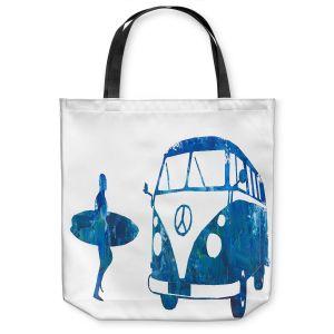 Unique Shoulder Bag Tote Bags | Markus Bleichner - Surf Bus Blue 1 | vw volkswagon surfing surfboard
