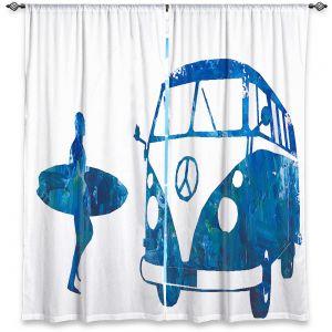Decorative Window Treatments   Markus Bleichner - Surf Bus Blue 1   vw volkswagon surfing surfboard