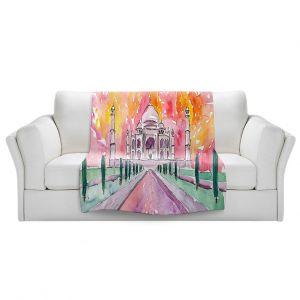Artistic Sherpa Pile Blankets | Markus Bleichner - Taj Mahal Colorful | India Travel Building