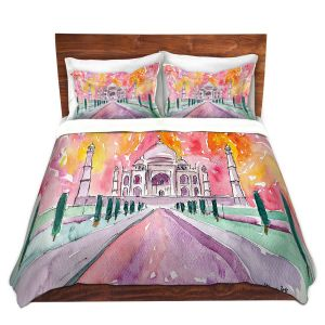 Artistic Duvet Covers and Shams Bedding   Markus Bleichner - Taj Mahal Colorful   India Travel Building