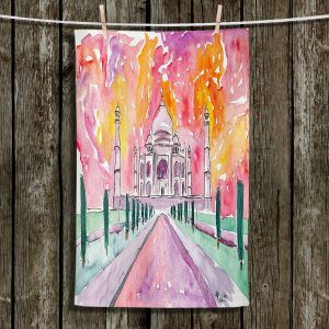 Unique Hanging Tea Towels | Markus Bleichner - Taj Mahal Colorful | India Travel Building