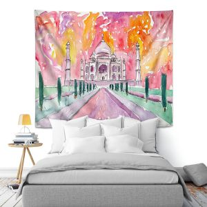 Artistic Wall Tapestry   Markus Bleichner - Taj Mahal Colorful   India Travel Building
