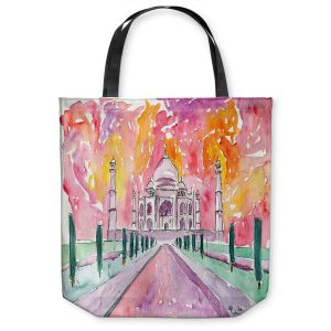 Unique Shoulder Bag Tote Bags   Markus Bleichner - Taj Mahal Colorful   India Travel Building