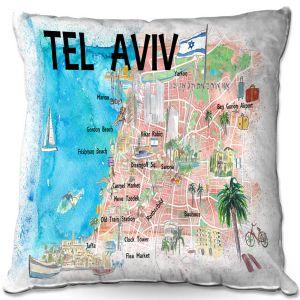 Throw Pillows Decorative Artistic   Markus Bleichner - Tel Aviv Israel Tourist 2   Cities Maps Travel