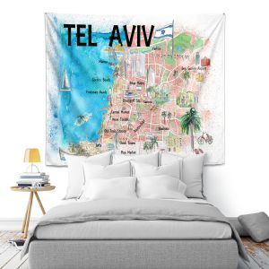 Artistic Wall Tapestry   Markus Bleichner - Tel Aviv Israel Tourist 2   Cities Maps Travel