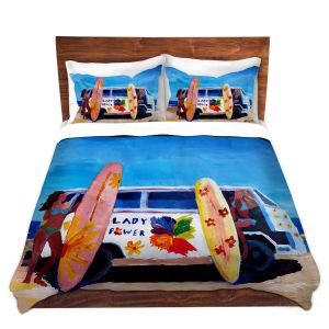 Artistic Duvet Covers and Shams Bedding | Markus Bleichner - The Lady Power VW Bus