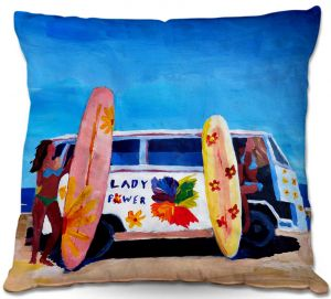 Decorative Outdoor Patio Pillow Cushion | Markus Bleichner - The Lady Power VW Bus