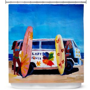 Premium Shower Curtains | Markus Bleichner The Lady Power VW Bus