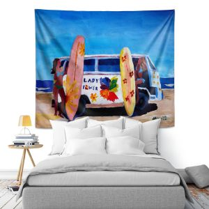Artistic Wall Tapestry | Markus Bleichner The Lady Power VW Bus