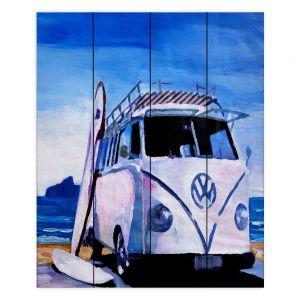 Decorative Wood Plank Wall Art   Markus Bleichner The White VW Bus
