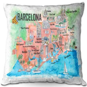 Throw Pillows Decorative Artistic   Markus Bleichner - Tourist Barcelona Catalonia   Cities Maps Travel