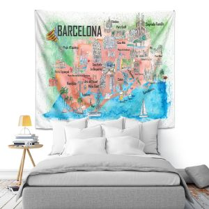 Artistic Wall Tapestry   Markus Bleichner - Tourist Barcelona Catalonia   Cities Maps Travel