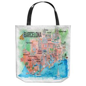 Unique Shoulder Bag Tote Bags   Markus Bleichner - Tourist Barcelona Catalonia   Cities Maps Travel