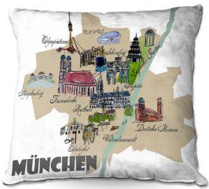 Throw Pillows Decorative Artistic   Markus Bleichner - Tourist Munich   map germany city