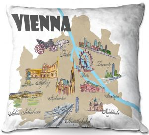 Decorative Outdoor Patio Pillow Cushion | Markus Bleichner - Tourist Vienna | map city