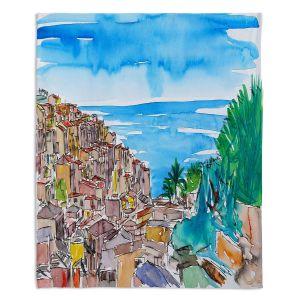 Decorative Fleece Throw Blankets | Markus Bleichner - Vernazza Italian Riviera 1 | Landscape city scape town coast ocean