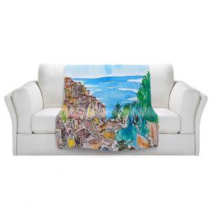 Artistic Sherpa Pile Blankets | Markus Bleichner - Vernazza Italian Riviera 1 | Landscape city scape town coast ocean