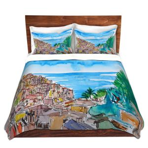 Artistic Duvet Covers and Shams Bedding   Markus Bleichner - Vernazza Italian Riviera 1   Landscape city scape town coast ocean