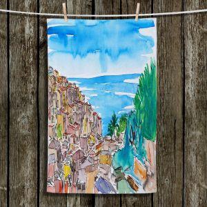 Unique Hanging Tea Towels | Markus Bleichner - Vernazza Italian Riviera 1 | Landscape city scape town coast ocean