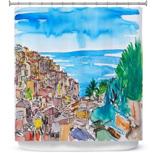 Premium Shower Curtains | Markus Bleichner - Vernazza Italian Riviera 1 | Landscape city scape town coast ocean