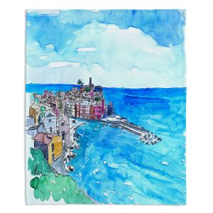 Decorative Fleece Throw Blankets | Markus Bleichner - Vernazza Italian Riviera 2 | Landscape city scape town coast ocean