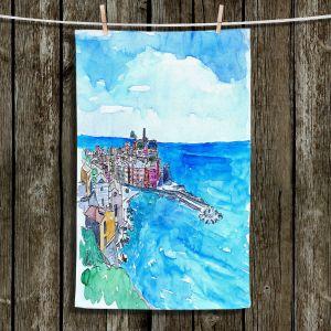 Unique Hanging Tea Towels | Markus Bleichner - Vernazza Italian Riviera 2 | Landscape city scape town coast ocean