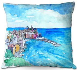 Throw Pillows Decorative Artistic | Markus Bleichner - Vernazza Italian Riviera 2 | Landscape city scape town coast ocean