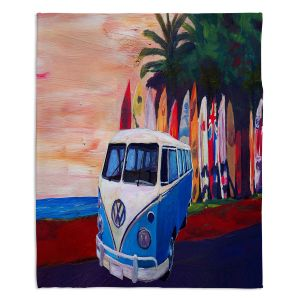 Artistic Sherpa Pile Blankets | Markus Bleichner - VW Bus Surfing 2 | Car Volkswagon beach coast travel ocean