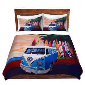 Artistic Duvet Covers and Shams Bedding | Markus Bleichner - VW Bus Surfing 2 | Car Volkswagon beach coast travel ocean