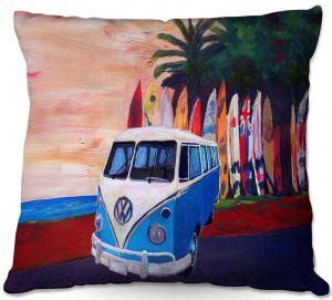 Decorative Outdoor Patio Pillow Cushion | Markus Bleichner - VW Bus Surfing 2 | Car Volkswagon beach coast travel ocean