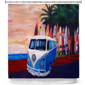 Premium Shower Curtains | Markus Bleichner - VW Bus Surfing 2 | Car Volkswagon beach coast travel ocean