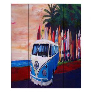 Decorative Wood Plank Wall Art | Markus Bleichner - VW Bus Surfing 2 | Car Volkswagon beach coast travel ocean