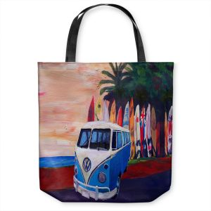 Unique Shoulder Bag Tote Bags | Markus Bleichner - VW Bus Surfing 2 | Car Volkswagon beach coast travel ocean