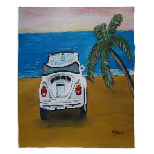 Decorative Fleece Throw Blankets | Markus Bleichner - White Beach Volkswagon Bug