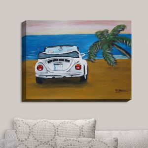 Decorative Canvas Wall Art | Markus Bleichner - White Beach Volkswagon Bug