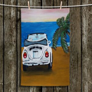 Unique Hanging Tea Towels | Markus Bleichner - White Beach Volkswagon Bug | Beach Volkswagon Bug Ocean