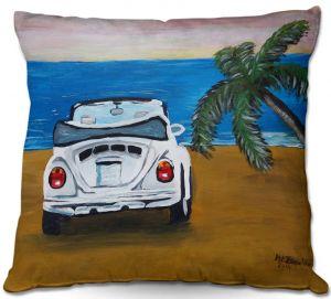 Decorative Outdoor Patio Pillow Cushion | Markus Bleichner - White Beach Volkswagon Bug