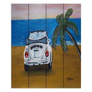 Decorative Wood Plank Wall Art | Markus Bleichner - White Beach Volkswagon Bug