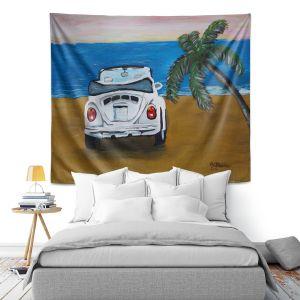 Artistic Wall Tapestry | Markus Bleichner - White Beach Volkswagon Bug