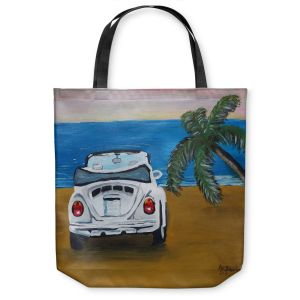 Unique Shoulder Bag Tote Bags | Markus Bleichner - White Beach Volkswagon Bug