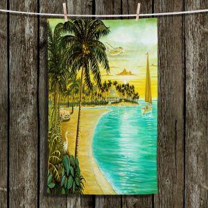 Unique Hanging Tea Towels | Mark Watts - Tropic Cove | Beach Ocean Paradise Sailboats